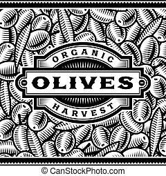 ラベル, 黒, レトロ, オリーブ, 白, 収穫