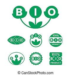 ラベル, bio, プロダクト, タグ, 緑, ステッカー, icons.