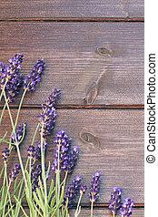 ラベンダー, 花, 上に, ∥, 木製の机