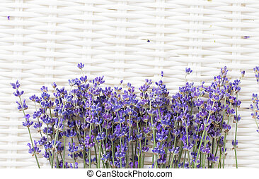 ラベンダー, 花, 上に, a, 白, basket.
