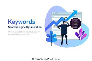 ランキング, keywording, engine., キーワード, 人々, optimization, コーディング, 捜索しなさい, イラスト, 研究, seo, ベクトル, keywords, 見る, データ, website.