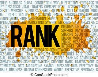 ランク, ビジネス, 雲, 概念, 単語