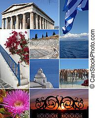 ランドマーク, コラージュ, の, ギリシャ