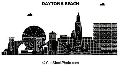 ランドマーク, スカイライン, イラスト, 合併した, 旅行, daytona, sights., ベクトル, 浜, 州
