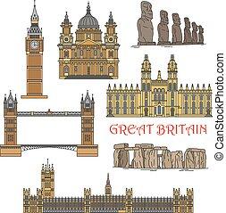 ランドマーク, チリ人, 観光客, イギリス, アイコン
