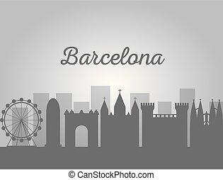 ランドマーク, バルセロナ, 有名, スカイライン, 建築, 都市の景観