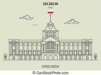 ランドマーク, 国立博物館, szczecin, アイコン, poland.