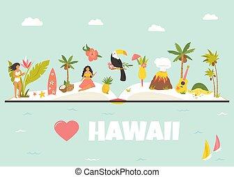 ランドマーク, 有名, 観光客, hawaii., ポスター