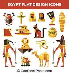 ランドマーク, 要素, エジプト人, シンボル, エジプト, 旅行, セット, infographics, 有名, デザイン, 平ら, アイコン