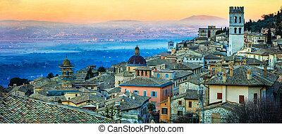 ランドマーク, assisi., 夜明け, 上に, イタリア, 中世, umbria, 町