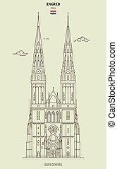 ランドマーク, croatia., ザグレブ, 大聖堂, アイコン