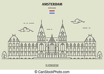 ランドマーク, netherlands., アムステルダム, rijksmuseum, アイコン