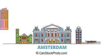 ランドマーク, vector., 線, 世界, 平ら, oultine, netherlands, アムステルダム, 都市の景観, 旅行, 都市, アイコン, イラスト
