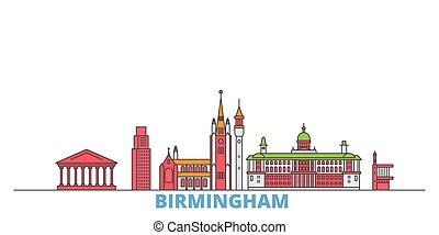 ランドマーク, vector., 線, 合併した, 平ら, 世界, oultine, 王国, バーミンガム, 都市の景観, 旅行, 都市, アイコン, イラスト