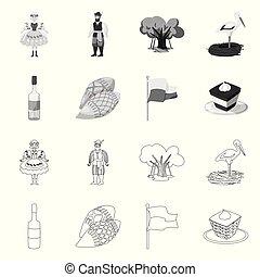 ランドマーク, web., イラスト, 伝統的である, 旅行, ベクトル, コレクション, icon., シンボル, 株