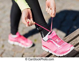 ランナー, ひも, 女, 靴, トレーナー