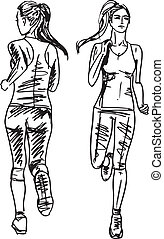 ランナー, スケッチ, 背中, イラスト, ベクトル, 女性, 光景, マラソン, front.