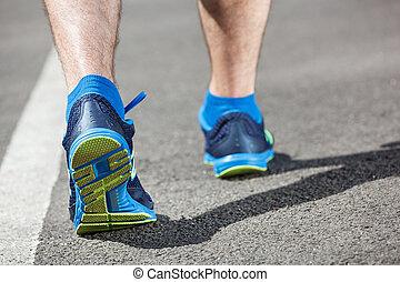 ランナー, フィート, 動くこと, クローズアップ, 競技場, shoe.