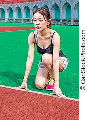 ランナー, ポジション, 始める, 競技場, 中国語