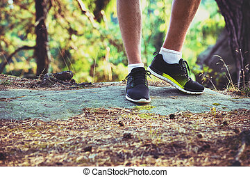 ランナー, マレ, 靴, 国, 若い, 細部, 十字の足