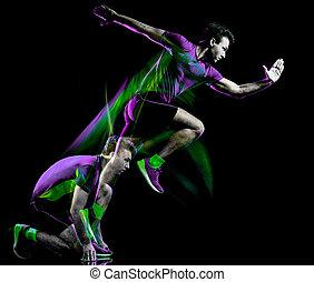 ランナー, ライト, 動くこと, 隔離された, ジョガー, ジョッギング, 黒い背景, 絵, 人