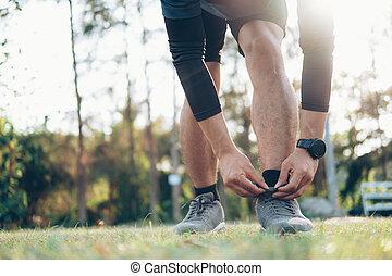 ランナー, 人, shoelaces., 結ぶこと, 若い