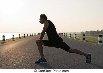ランナー, 伸張, 若い, アジア, 練習, 人