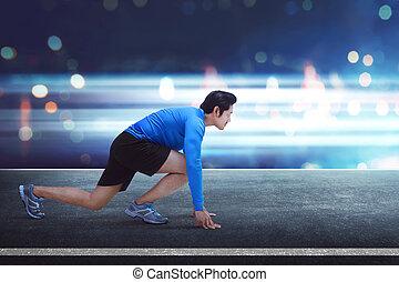 ランナー, 動くこと, アジア人, 準備ができた, ポジション, 人, ハンサム