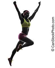 ランナー, 動くこと, 女 シルエット, 跳躍