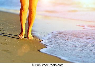 ランナー, 動くこと, 足, 浜