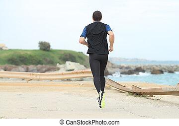 ランナー, 単独で, 背中, 浜, 動くこと, 光景