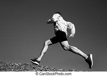ランナー, 坂の上へ, 動くこと, 人, 道