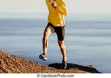 ランナー, 坂の上へ, 動くこと, 男性