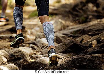 ランナー, 山, 動くこと, マラソン, 岩