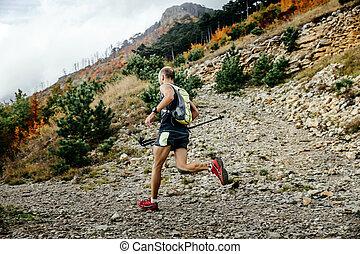 ランナー, 山, 走っている男性, マラソン