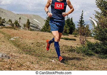 ランナー, 山, 運動選手, 動くこと, 道