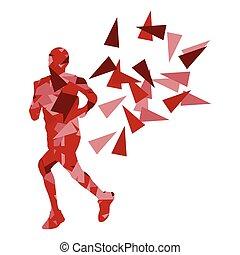ランナー, 抽象的, ベクトル, マラソン