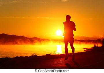 ランナー, 日没, 動くこと, 浜, シルエット