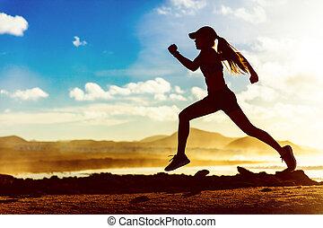 ランナー, 日没, 運動選手, シルエット, 動くこと