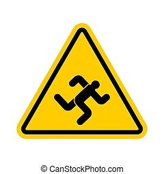 ランナー, 注意, 黄色の符号, 動くこと, 警告, 注意, 道, chaser., man.