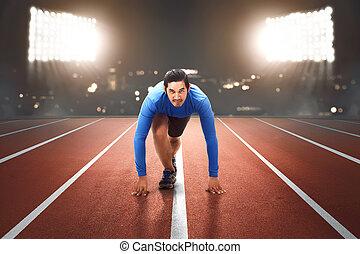 ランナー, 準備ができた, 動くこと, 若い, アジア人
