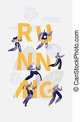 ランナー, 競争, 動くこと, スポーツ, 旗, マラソン