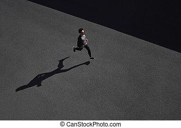 ランナー, 筋肉, sportswear., スプリント, スポーツ, スピード, フィットしなさい, スプリンター, 上, 運動, 速い, 黒い 人, コーカサス人, run., 彼の, 動くこと, 黄色, スプリント, 訓練, asphalt., 成功, 20s., 運動選手, フィットネス, モデル, 光景