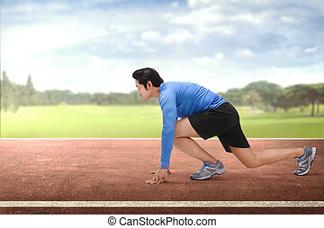 ランナー, 若い, 始めなさい, 動くこと, アジア人, 準備ができた, ポジション