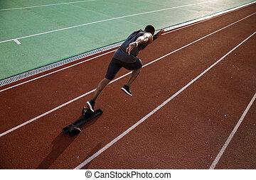 ランナー, 若い, 競技場, 動くこと, アフリカの男性