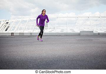 ランナー, 訓練, outdoor., 女性