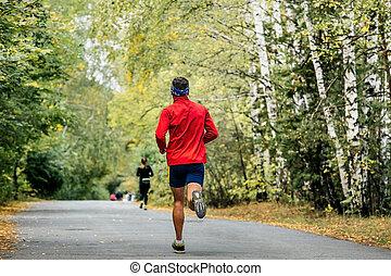 ランナー, 走っている男性, マラソン