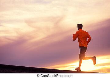 ランナー, 走っている男性, 日没, シルエット
