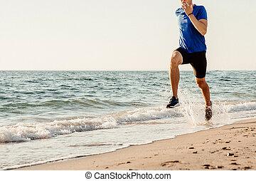 ランナー, 走っている男性, 海