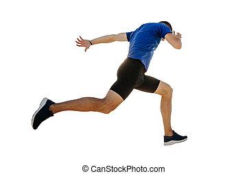 ランナー, 走っている男性, 線, 終わり